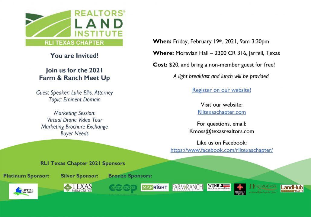 RLI Texas Chapter Farm & Ranch Meet Up Flyer